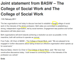 Colleges of Social Work Joint Statement (11-Feb-2011)