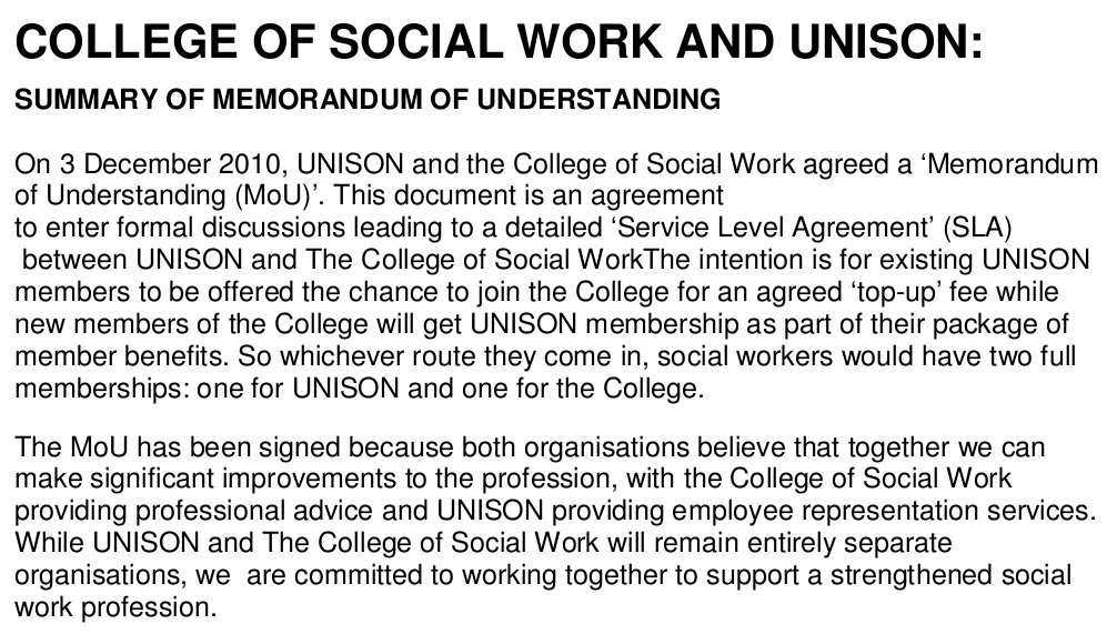 College Of Social Work And Unison Memorandum Of Understanding
